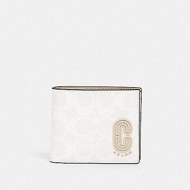 Coach Signature Compact 2838 3 In 1 Wallet In Glacier White