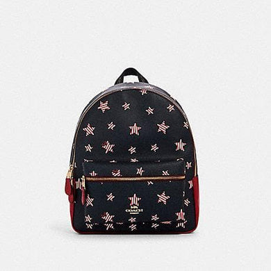 Coach Medium Charlie Backpack 2865 With Americana Star Print In Navy Red Multi