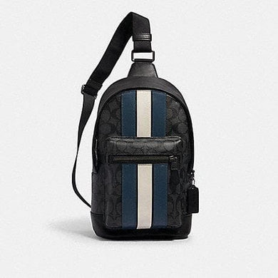 Coach Signature West Pack 2999 With Varsity Stripes In Black Charcoal