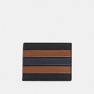 Coach Slim Billfold 3003 Wallet With Varsity Stripes In Black Saddle
