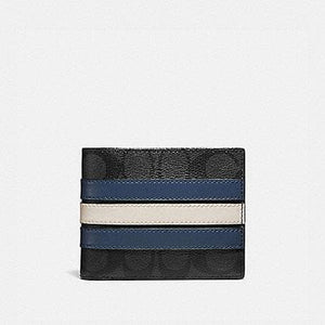 Coach Signature 3 In 1 3008 Wallet With Varsity Stripes In Charcoal Black