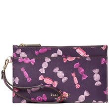 Load image into Gallery viewer, Kate Spade Medium Staci WLR00198 Double Zip Wristlet In Purple Multi
