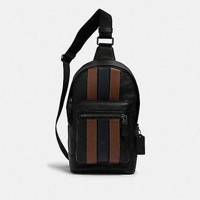 Coach West Pack 3180 Backpack With Varsity Stripes In Black Saddle