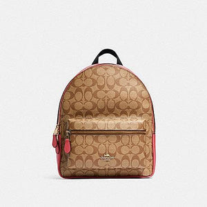 Coach Medium Charlie Backpack In Signature Canvas 32200 (IM/Khaki Poppy)