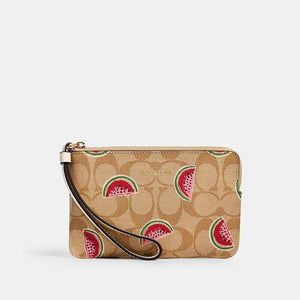 Coach Signature Corner Zip Wristlet 3281 With Watermelon Print In Light Khaki Red Multi