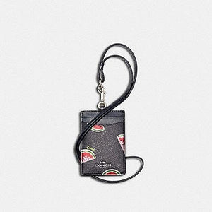 Coach ID Lanyard 3356 With Watermelon Print In Navy Blue Red Multi