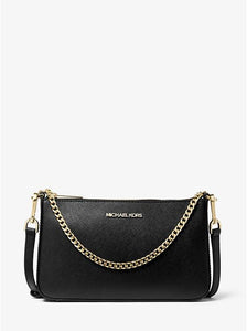 Michael Kors Medium Zip Pouchette 35S0GTVU6L Jet Set Travel Crossbody Bag In Black