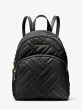 Load image into Gallery viewer, Michael Kors Medium Abbey 35S9GAYB2T Quilted Faux Leather Backpack In Black