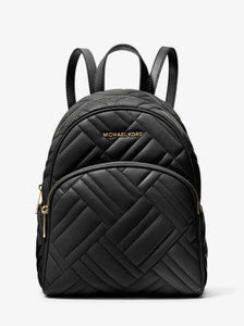 Michael Kors Medium Abbey 35S9GAYB2T Quilted Faux Leather Backpack In Black