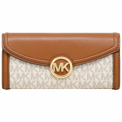 Michael Kors Fulton Large Flap Continental Wallet 35F9GFTE3B In Vanilla