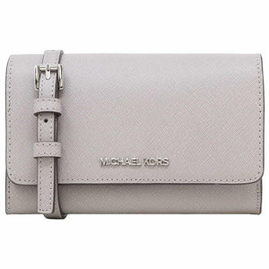 Michael Kors Medium Multifunction Phone 35S0STVC2L Jet Set Travel Crossbody Bag In Pearl Grey