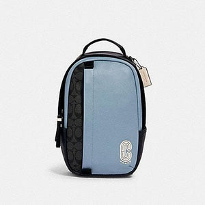Coach Signature Colorblock 3762 Edge Pack Crossbody Bag In Pebble Blue Charcoal