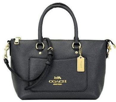COACH PEBBLE LEATHER MINI EMMA SATCHEL F31466 IN MIDNIGHT