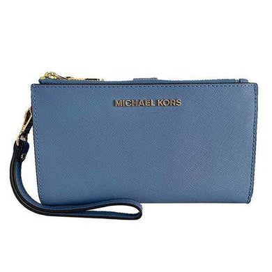 Michael Kors Jet Set Travel Double Zip Wristlet 35F8STVW0L In French Blue