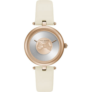 Ted Baker Womens Andrea Rose Gold Bow Dial White Leather Strap TE15199002