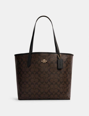 Coach Signature Canvas 5696 City Tote Bag In Brown Black