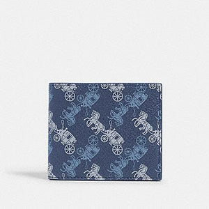 Coach ID Billfold Wallet With Carriage Print 570 In Indigo Multi