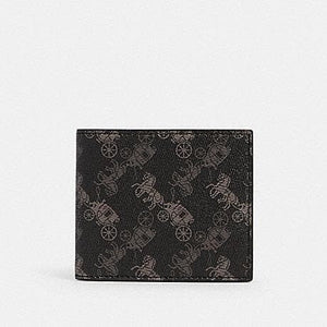 Coach ID Billfold Wallet With Carriage Print 570 In Black Multi