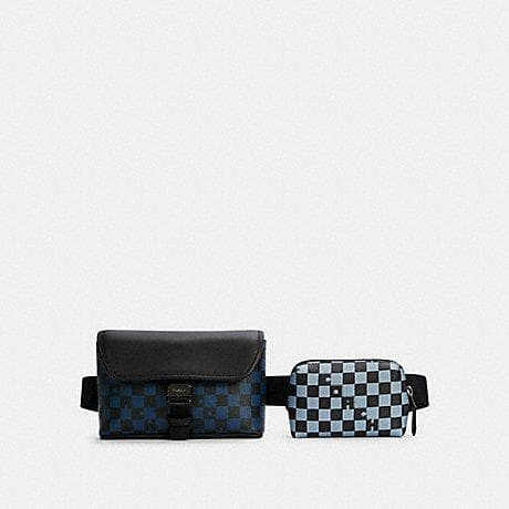 Coach Checkered Rider 5934 Double Belt Bag In True Blue Multi