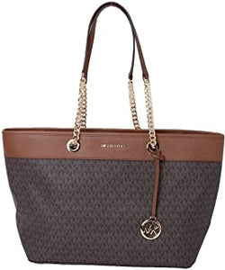 Michael Kors Shania Large EW Chain Tote Bag 35H9GI4T7B In Brown Acorn