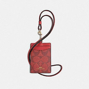 Coach Signature ID 63274 Lanyard In Red