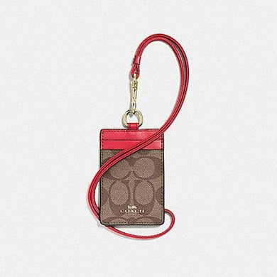 Coach Signature Id Lanyard F63274 In Khaki Poppy