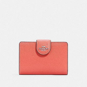 Coach Medium Corner 6390 Zip Wallet In Tangerine