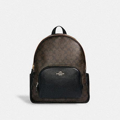 Coach Large Signature Court 6495 Backpack In Brown Black