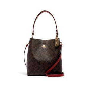 Coach Signature Small Town 2312 Bucket Bag In Black True Red