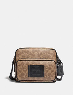 Coach Academy Sport Crossbody 69689 With Signature Canvas In Khaki Black
