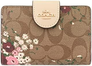 Coach Medium Signature Corner C3773 Zip Wallet In Khaki Multi