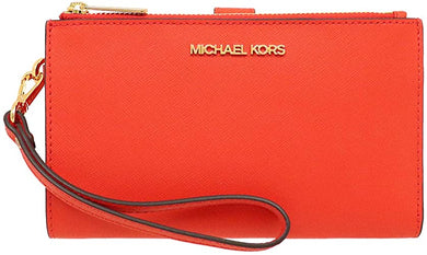 Michael Kors Jet Set Travel Large Double Zip Wristlet 35F8GTVW0L In Mandarin