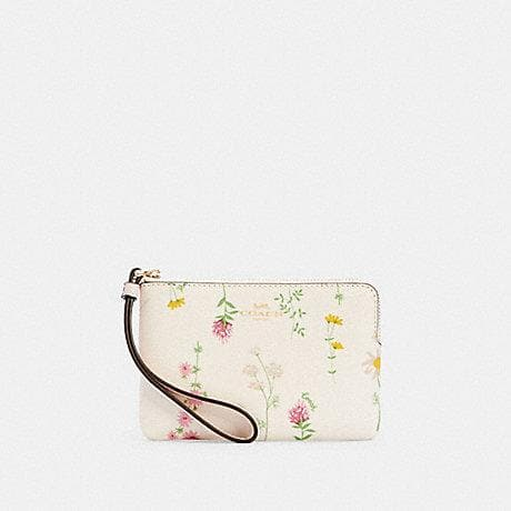 Coach Corner Zip 7249 Wristlet With Space Wildflower Print In Chalk Multi