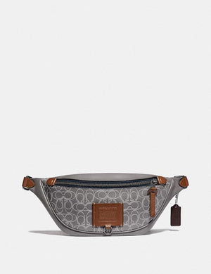Coach Rivington Belt Bag 78899 With Reflective Signature Leather In Heather Grey