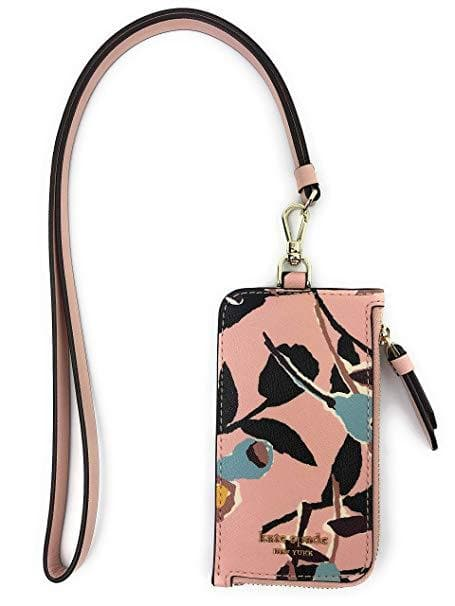 Kate Spade Card Case Lanyard Cameron Paper Rose Pink Multi