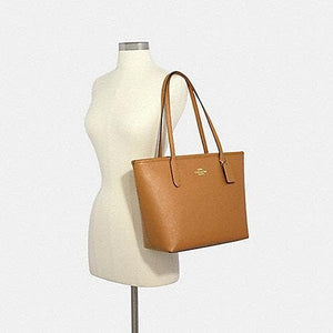 Coach Crossgrain Leather Zip Top tote Bag 83857 In Light Saddle