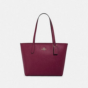 Coach Crossgrain Leather Zip Top tote Bag 83857 In Dark Berry