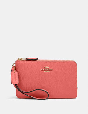 Coach Double Zip Wristlet 87590 In Bright Coral