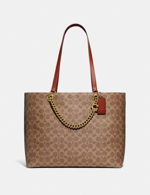 Coach Signature Chain Convertible Tote Bag 89174 In Tan Rust