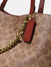 Load image into Gallery viewer, Coach Signature Chain Convertible Tote Bag 89174 In Tan Rust