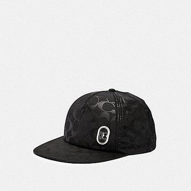 Coach Signature Nylon Trucker Hat 89723 In Black