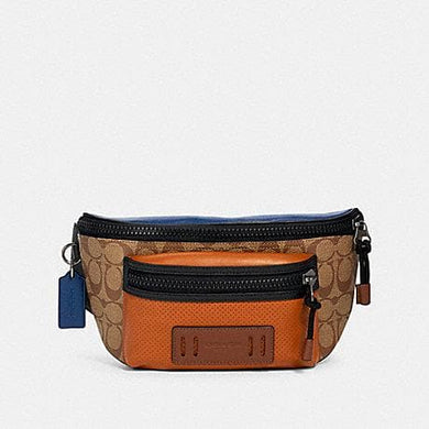 Coach Signature Colorblock Terrain Belt Bag 89906 In Tan Burnt Sienna Multi