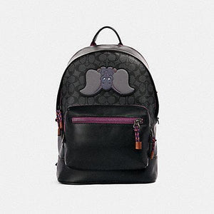 Coach X Disney Signature With Dumbo Patch West Backpack 89943 In Charcoal Plum Multi