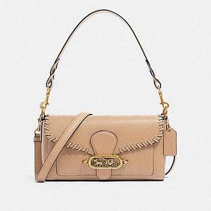 Coach Small Jade 91025 Shoulder Bag With Whipstitch In Taupe