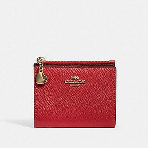 Coach Crossgrain Leather Snap Card Case With Charm 91052 In Poppy Multi
