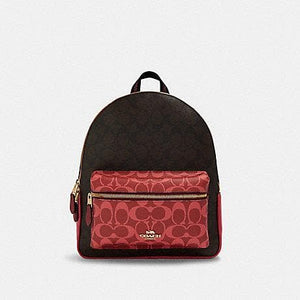 Coach Medium Charlie Backpack In Blocked Signature Canvas 91074 (IM/Brown Multi)