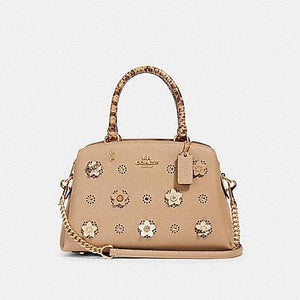 Coach Mini Lillie Carryall With Daisy Applique 91142 (IM/Taupe Multi)