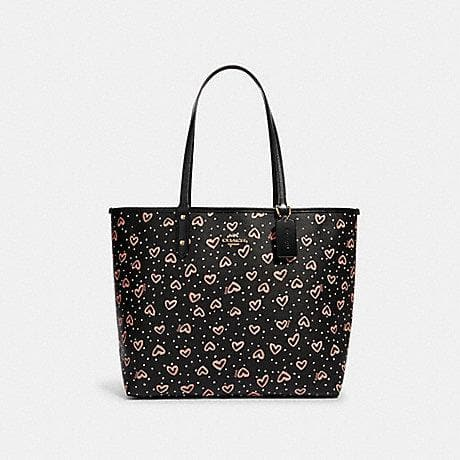 Coach Reversible Tote Bag With Crayon Hearts Print 91151 In Black Multi