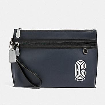 Coach Reflective Coach Patch Sporty Carryall Pouch 91250 In Midnight