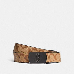 Coach Plaque Buckle Cut-to-Size Reversible Belt 38MM 91280 (Nickel Black/Utility Tan)